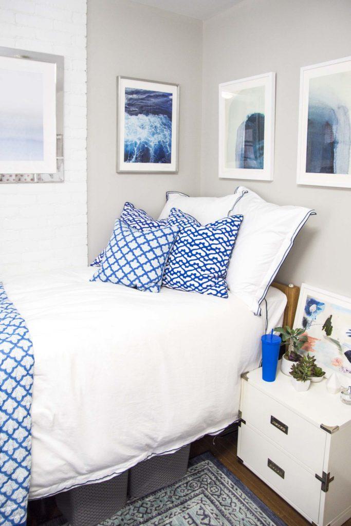 Blush And White Dorm Room