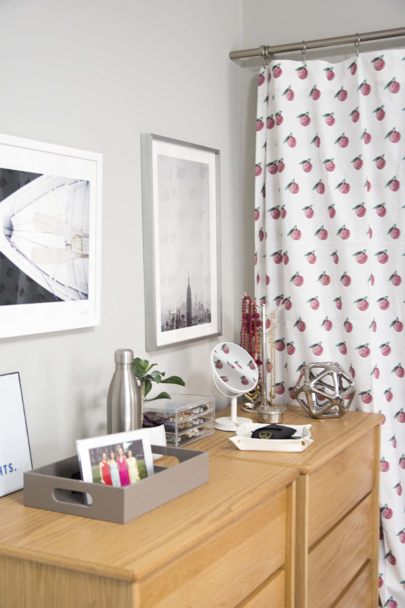 Dorm room design with curtains covering closet and dresser decor on Thou Swell @thouswellblog