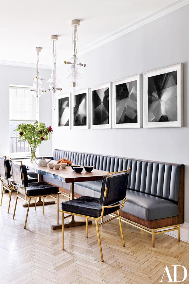 Channel tufted dining banquette in glam kitchen on Thou Swell @thouswellblog