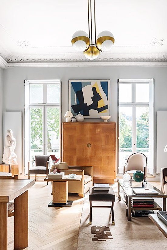 Art deco living room decor with tall French doors on Thou Swell @thouswellblog