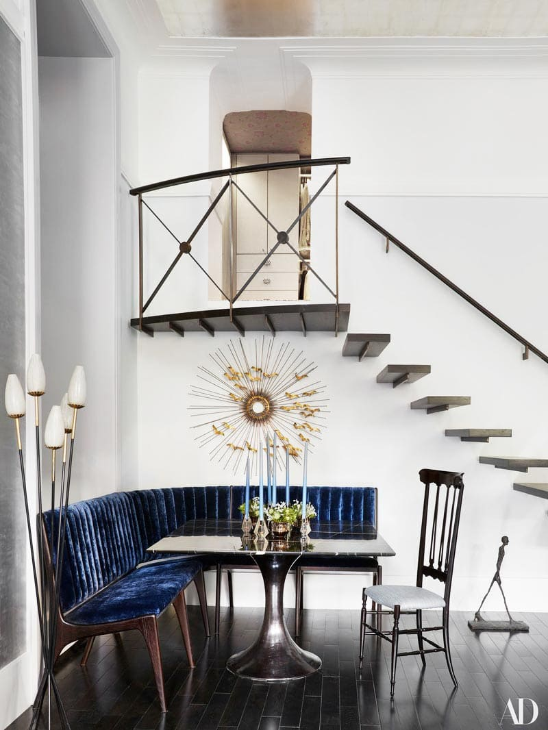 Silver and blue living room in Carole Radziwill's New York City duplex on Thou Swell @thouswellblog