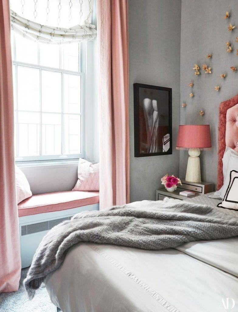 Carole Radziwill's pink and grey bedroom in New York City on Thou Swell @thouswellblog