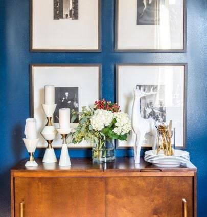 Holiday sideboard dining room buffet for holiday entertaining on Thou Swell @thouswellblog