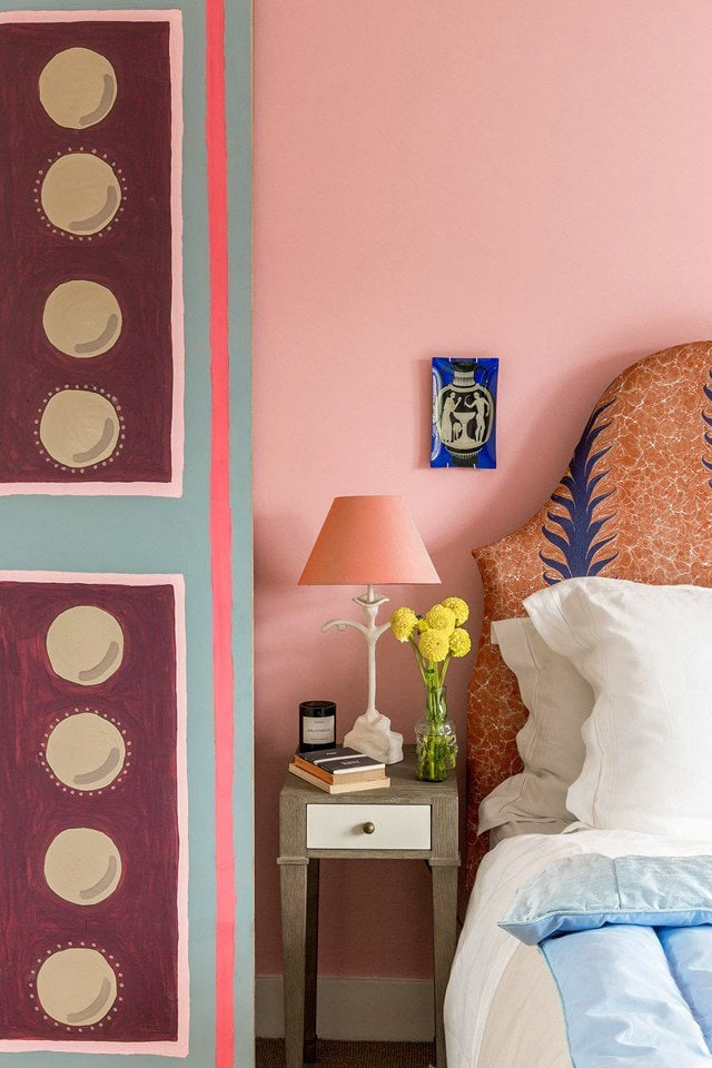Pink bedroom with matching lampshade and patterned headboard on Thou Swell @thouswellblog