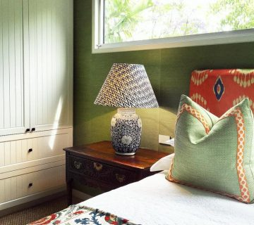 Green bedroom with pleated pattern lampshade on Thou Swell @thouswellblog