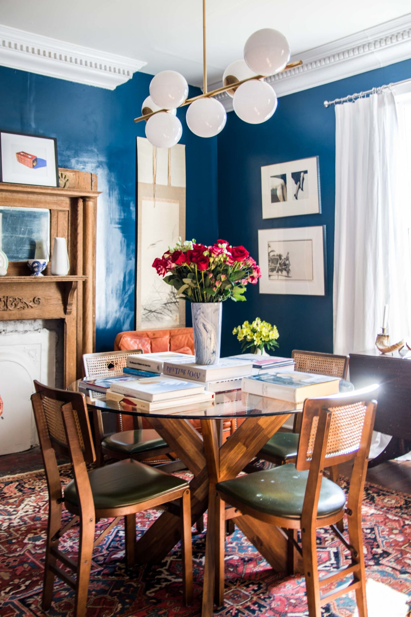 High Gloss Dark Blue Paint Dining Room Reveal Thou Swell