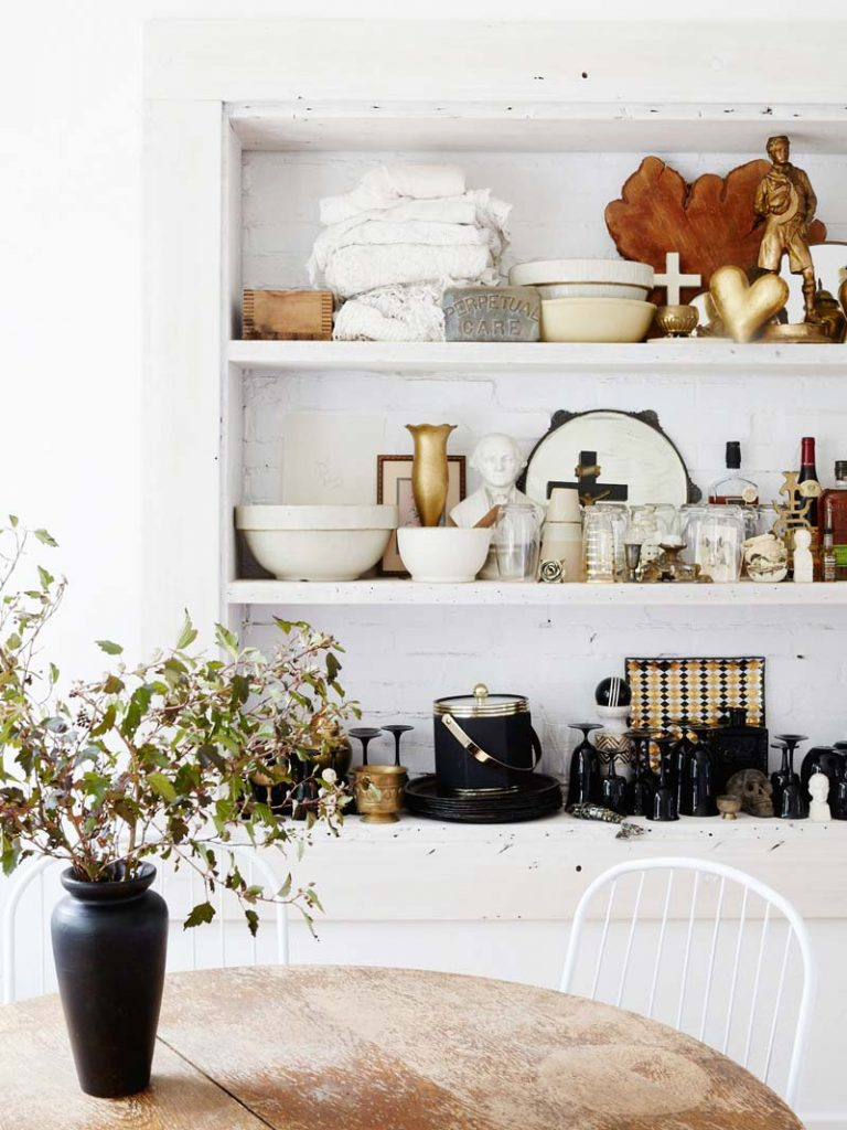 Minimal dining room with shelf styling on Thou Swell @thouswellblog