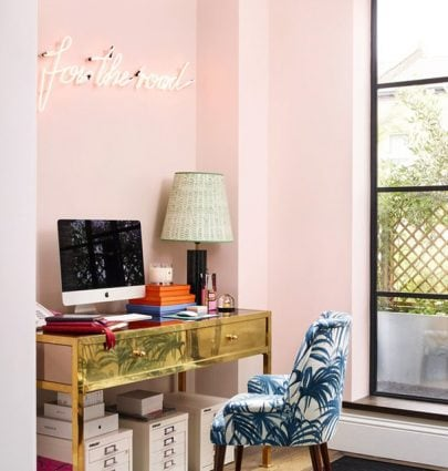 Pink office with neon sign on Thou Swell @thouswellblog
