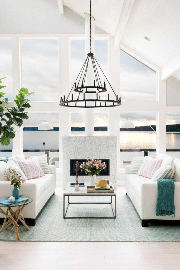 HGTV Dream Home 2018 white lake house living room on Thou Swell @thouswellblog