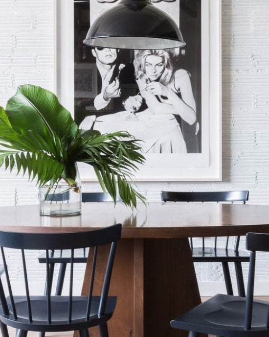 Modern dining room with walnut table, windsor chairs, black pendant light on Thou Swell @thouswellblog