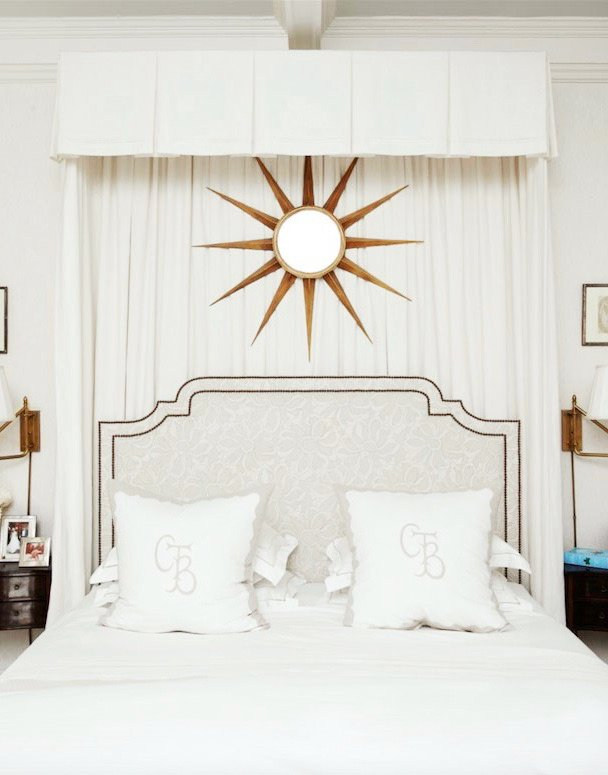 CeCe Barfield's bedroom with sunburst mirror via Thou Swell @thouswellblog