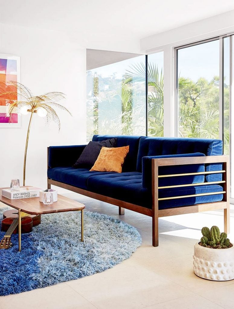 Modern blue velvet sofa from CB2 x Fred Segal on Thou Swell @thouswellblog