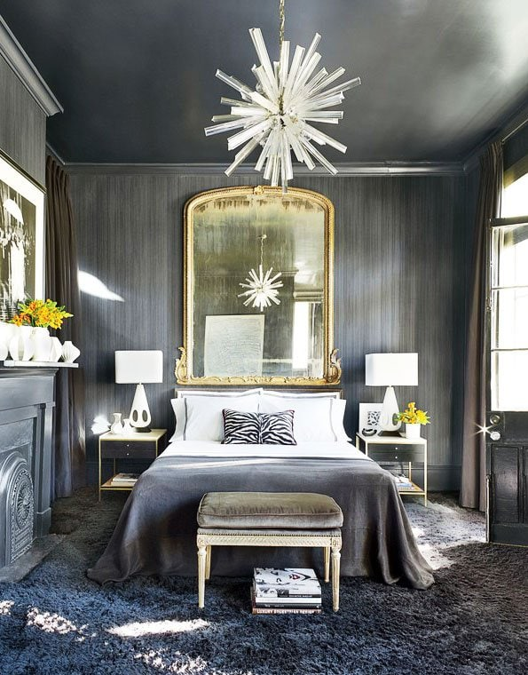 Lucite starburst chandelier in dramatic grey bedroom on Thou Swell @thouswellblog