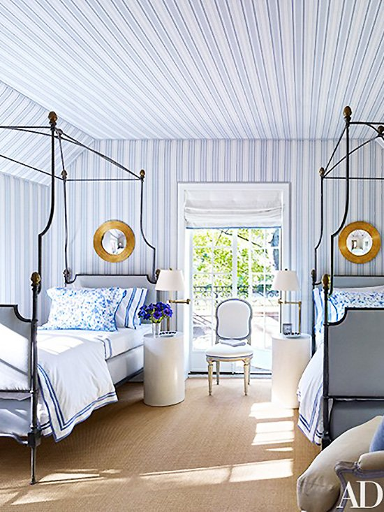 Blue striped twin bedroom with canopy beds on Thou Swell @thouswellblog