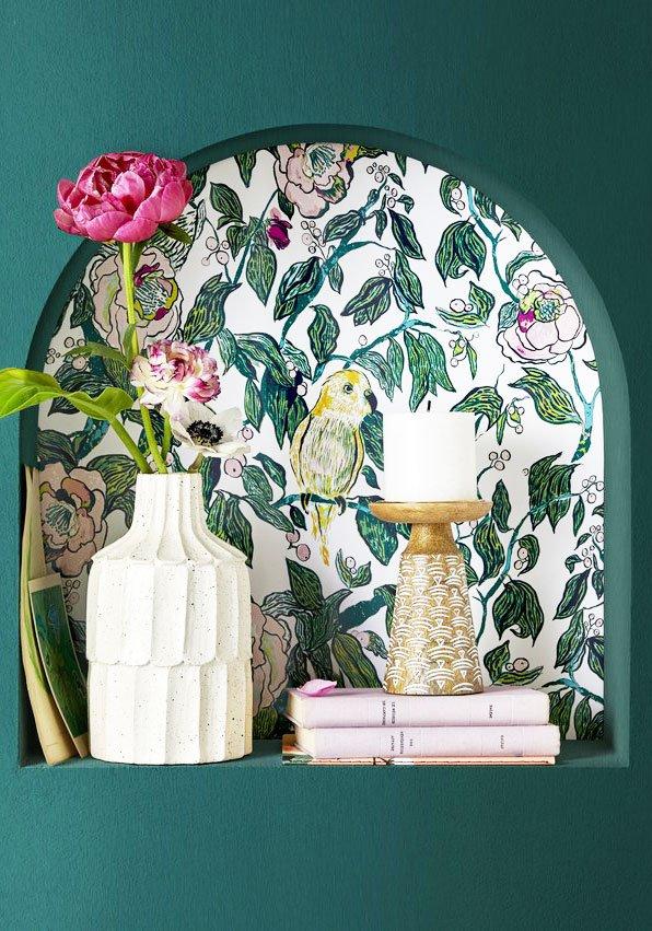 Wallpaper shelf wall nook on Thou Swell @thouswellblog