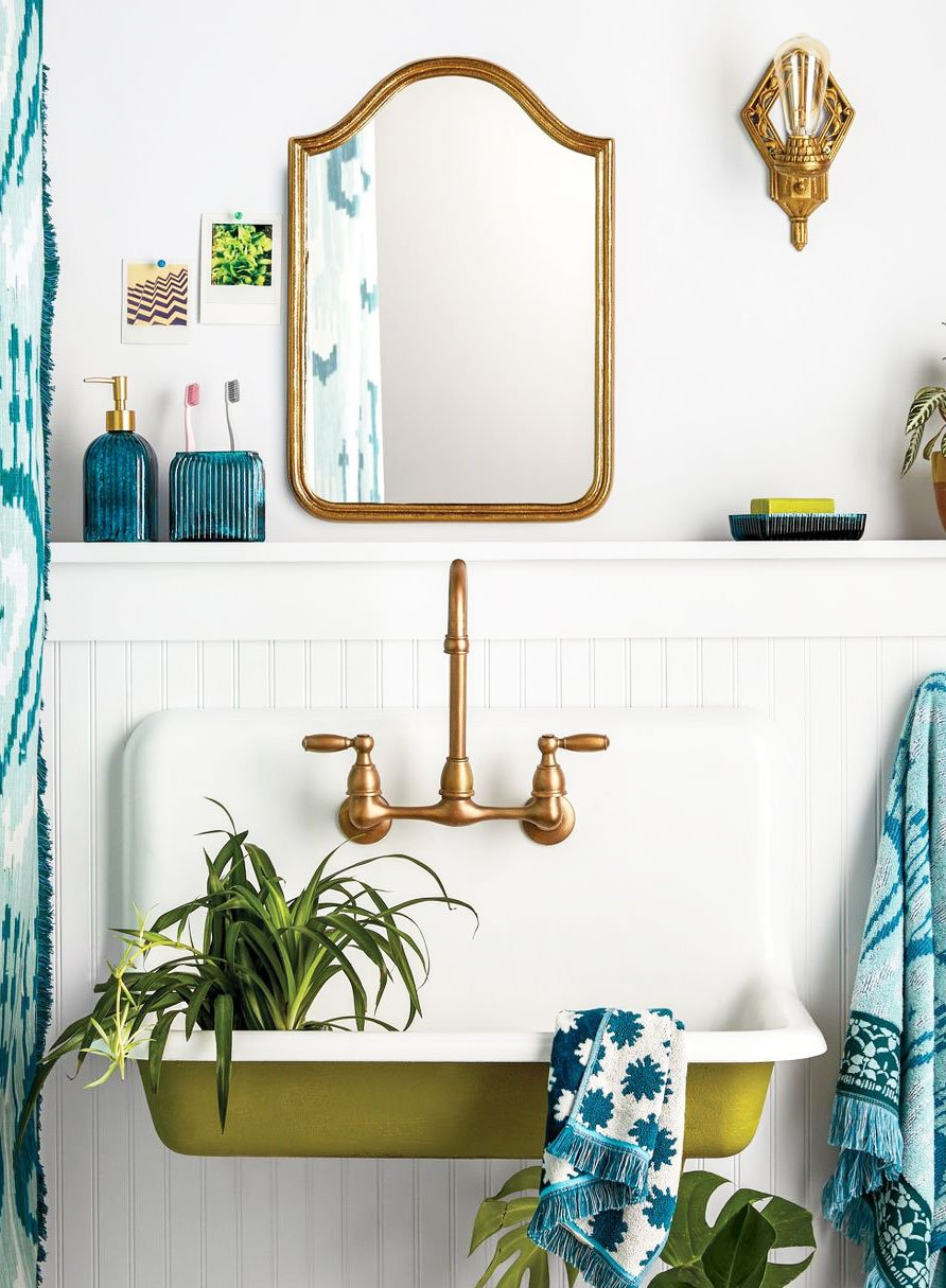 Beautiful green bathroom sink detail with gold mirror on Thou Swell @thouswellblog