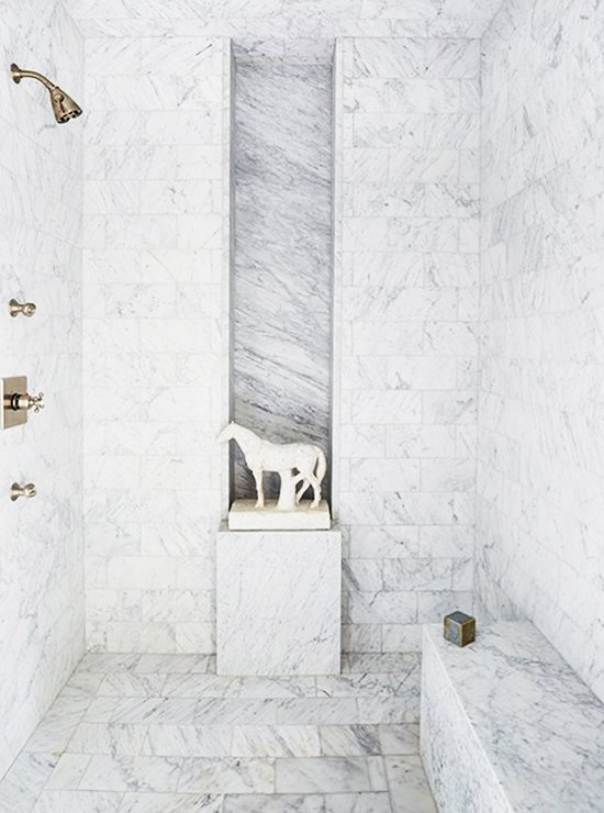 Dramatic marble walk-in shower with pedestal and horse statue on Thou Swell @thouswellblog