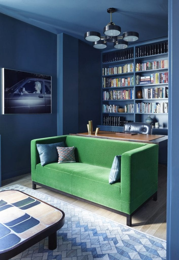 Dramatic dark blue home office with green velvet sofa on Thou Swell @thouswellblog