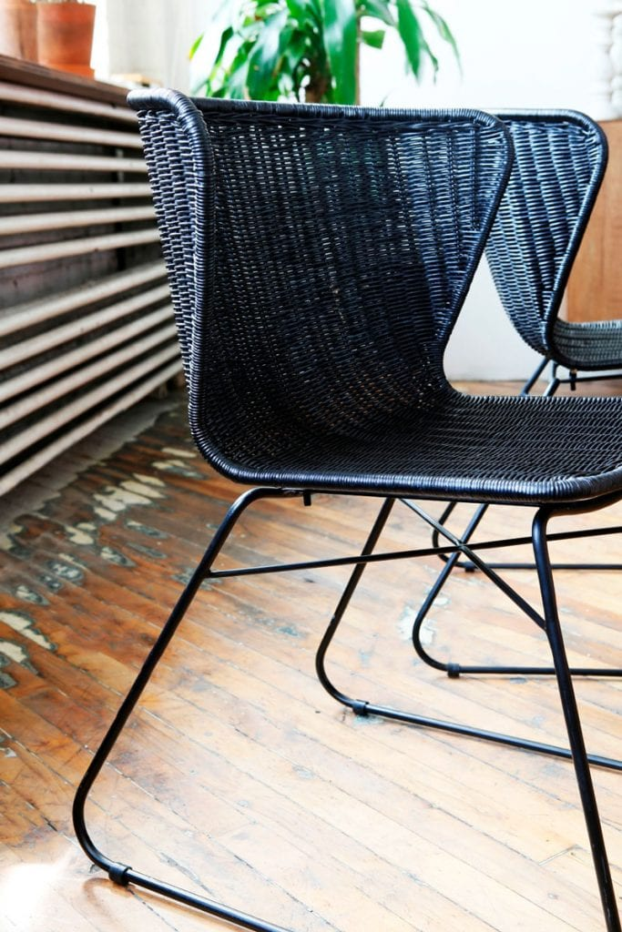Ebba black wicker modern wingback dining chair from Furniture Maison on Thou Swell @thouswellblog