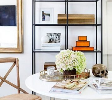 Chic office with white tulip table and cafe chair on Thou Swell @thouswellblog