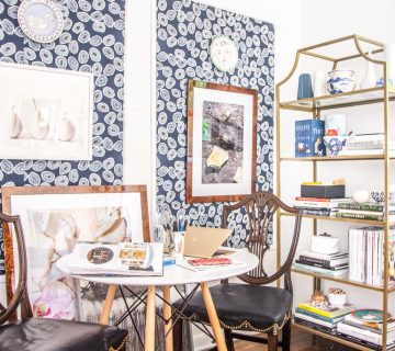 A more creative and inspiring workspace with blue wallpaper panels, modern white desk, and gold bookcase on Thou Swell @thouswellblog