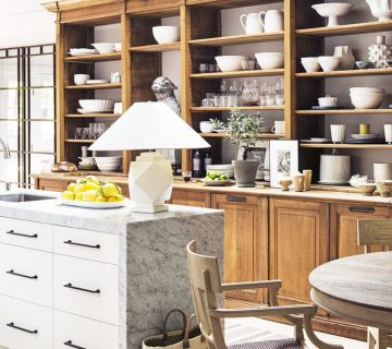 Modern farmhouse kitchen with wood open shelf cabinetry and marble island with table lamp on Thou Swell @thouswellblog