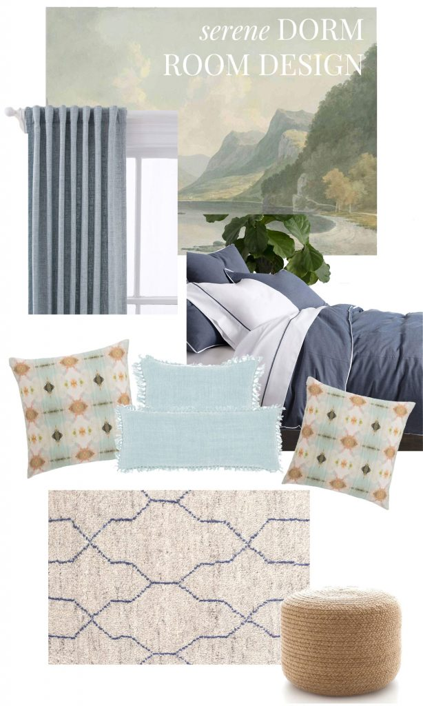 Serene dorm room design with Annie Selke Bed101 and landscape mural on Thou Swell @thouswellblog