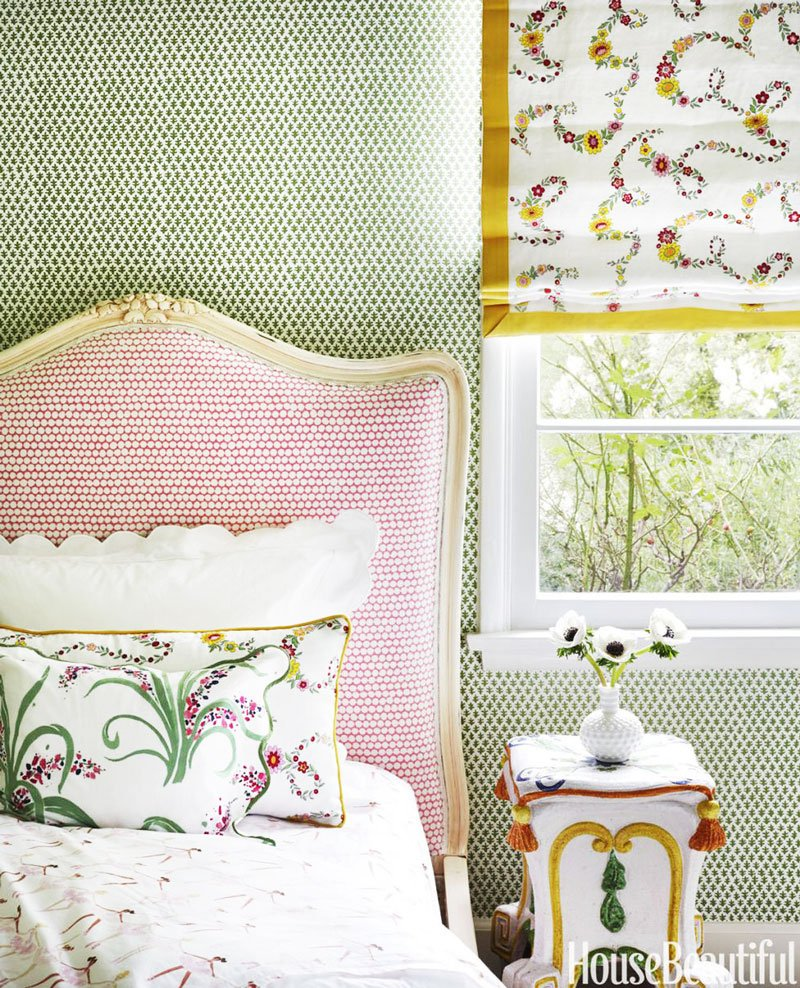 Beautiful designer kids bedroom with mixed patterns and wallpaper on Thou Swell @thouswellblog