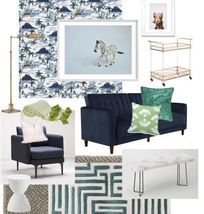 Tropical apartment living room design board on Thou Swell @thouswellblog