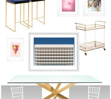Glam apartment dining room design board with gold table, blue stools, and modern artwork on Thou Swell @thouswellblog