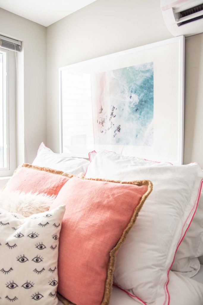 Blush apartment bedroom design makeover reveal with Society6 art prints on Thou Swell @thouswellblog