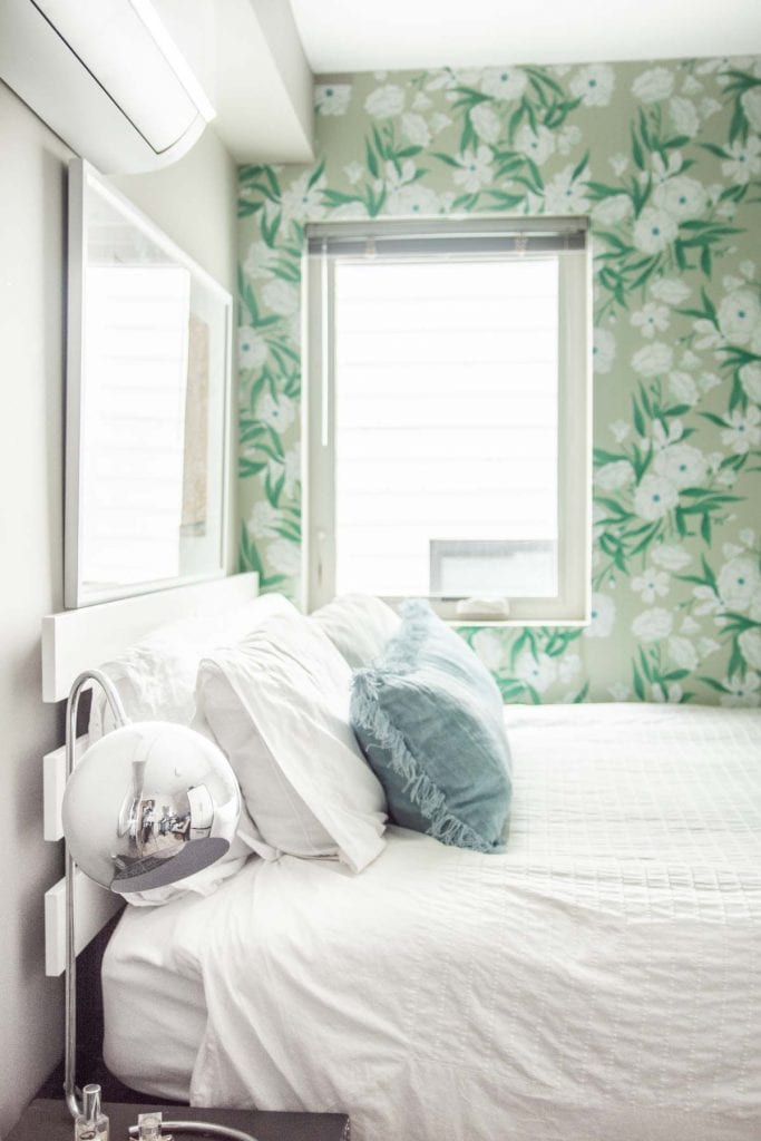 Blue and green apartment bedroom design makeover reveal with Society6 art prints on Thou Swell @thouswellblog