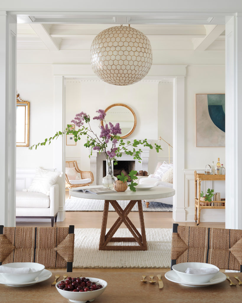 Beautiful entry with Capiz chandelier on Thou Swell @thouswellblog