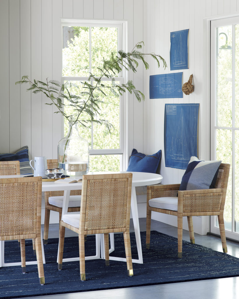 Classic blue and white dining room with Balboa chairs on Thou Swell @thouswellblog