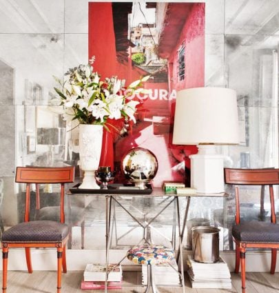 Eclectic Spanish entryway with mirrored wall on Thou Swell @thouswellblog