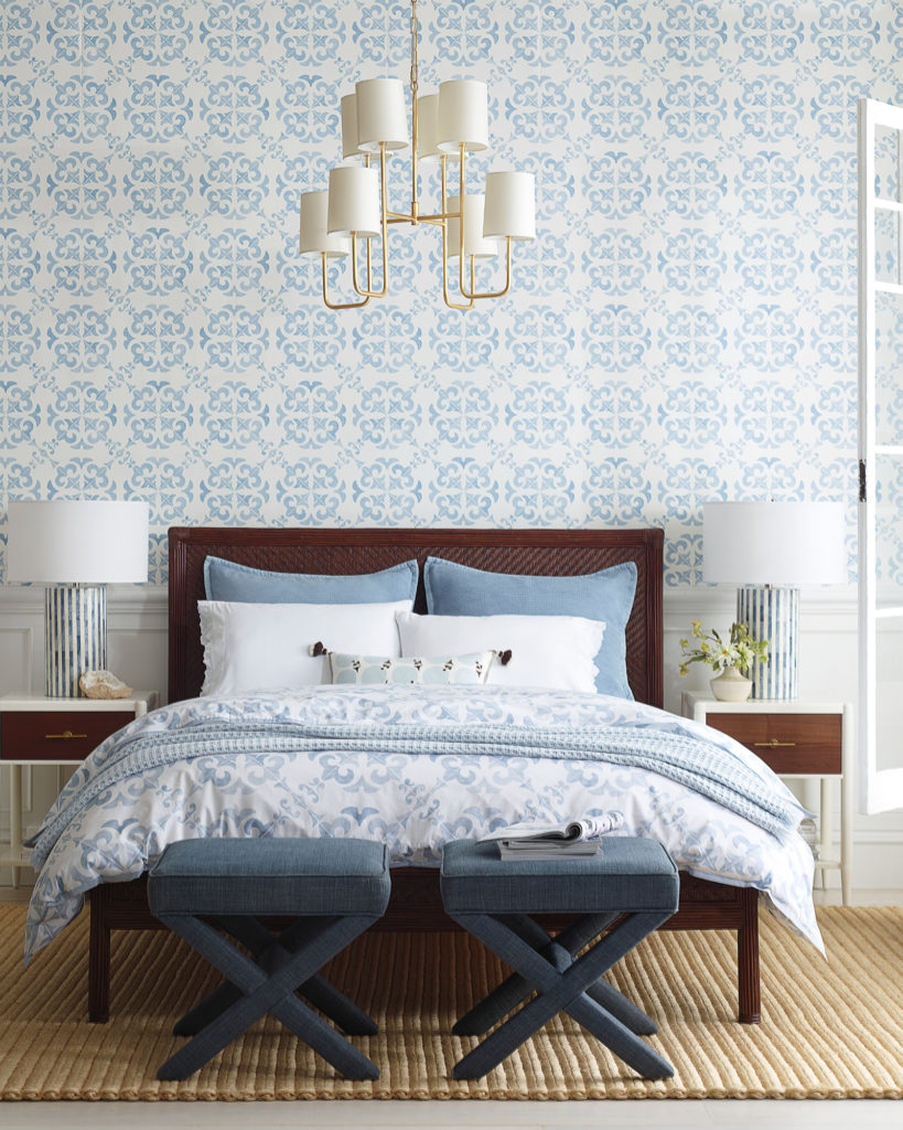 Elegant blue and white bedroom with wallpaper and cane bed on Thou Swell @thouswellblog