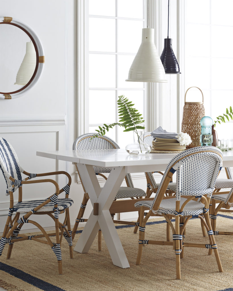 Classic dining room with woven bistro chairs on Thou Swell @thouswellblog