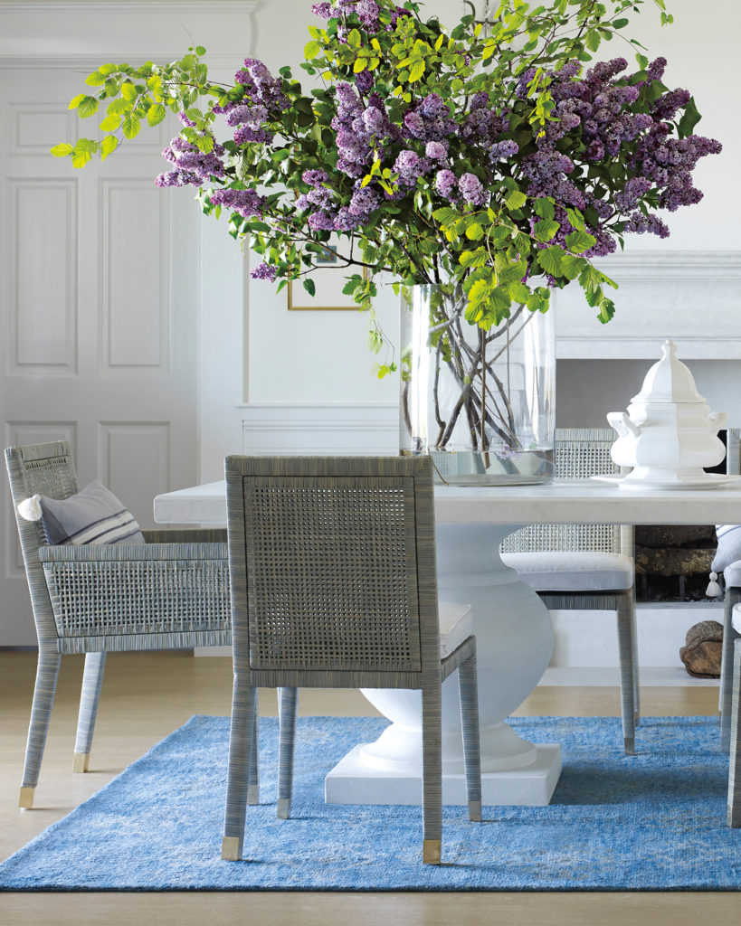 White Terrace dining table with gray Balboa woven chairs on Thou Swell @thouswellblog