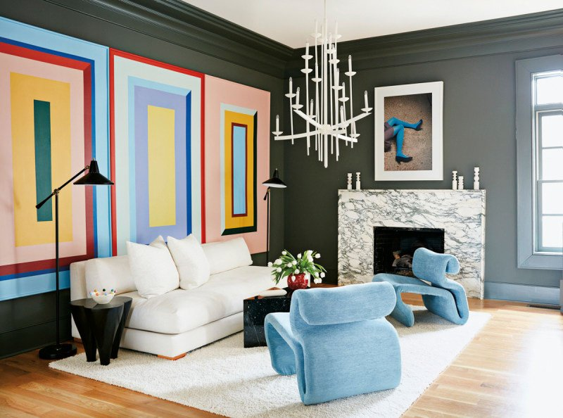 Stunning modern living room inside a color-filled home outside of Atlanta on Thou Swell @thouswellblog