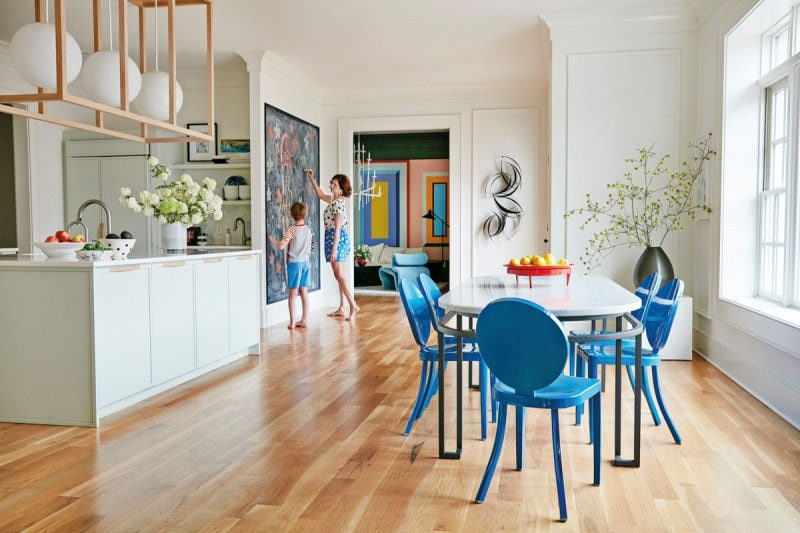 Bright modern kitchen inside a color-filled home outside of Atlanta on Thou Swell @thouswellblog