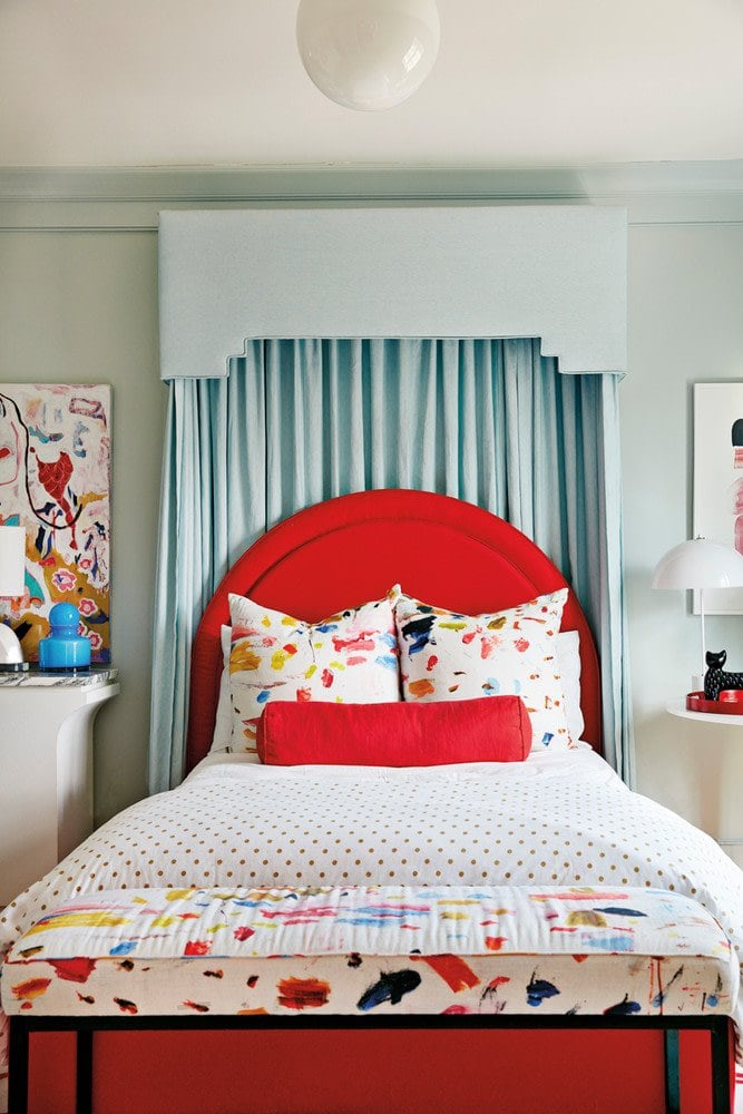 Bright red and blue neo-traditional bedroom inside a color-filled home outside of Atlanta on Thou Swell @thouswellblog