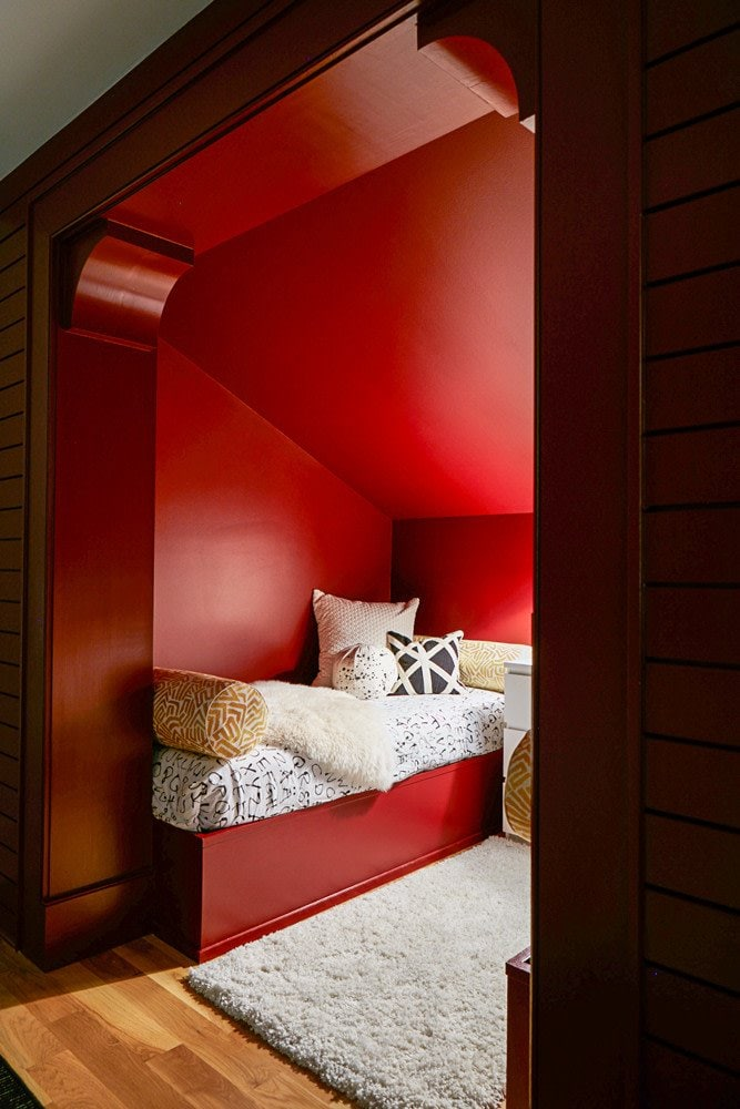 Red twin bed nook inside a color-filled home outside of Atlanta on Thou Swell @thouswellblog