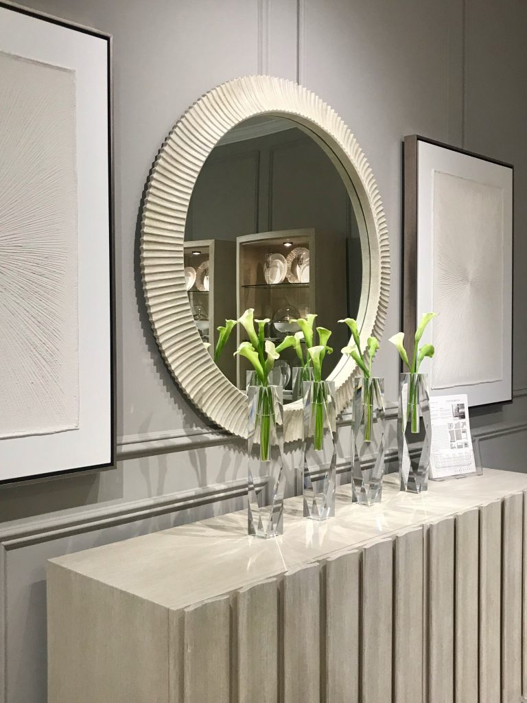 Trend report from High Point Market - fluted mirror and sideboard at Bernhardt showroom on Thou Swell @thouswellblog