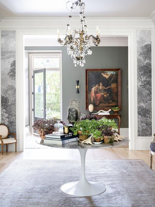 Classic grey Southern entryway in New Orleans home tour designed by Sarah Ruffin Costello on Thou Swell @thouswellblog