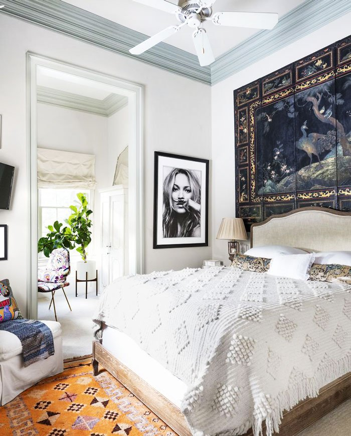 Classic bohemian bedroom in New Orleans home tour designed by Sarah Ruffin Costello on Thou Swell @thouswellblog