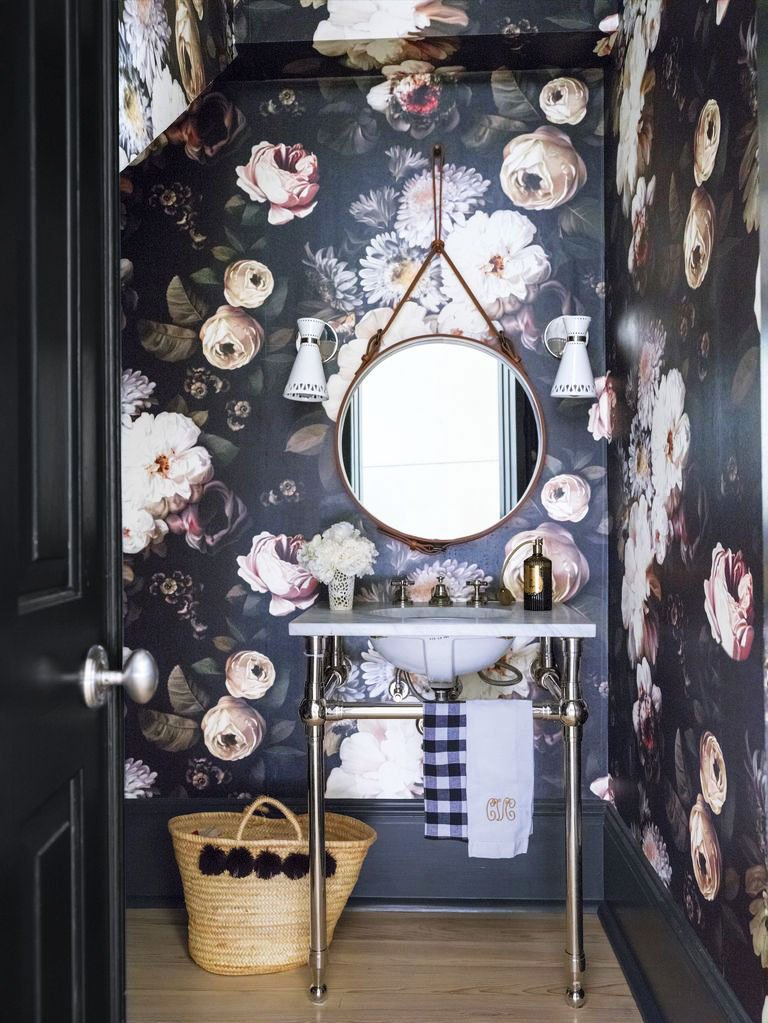 Dramatic moody floral powder room wallpaper in New Orleans home tour on Thou Swell @thouswellblog