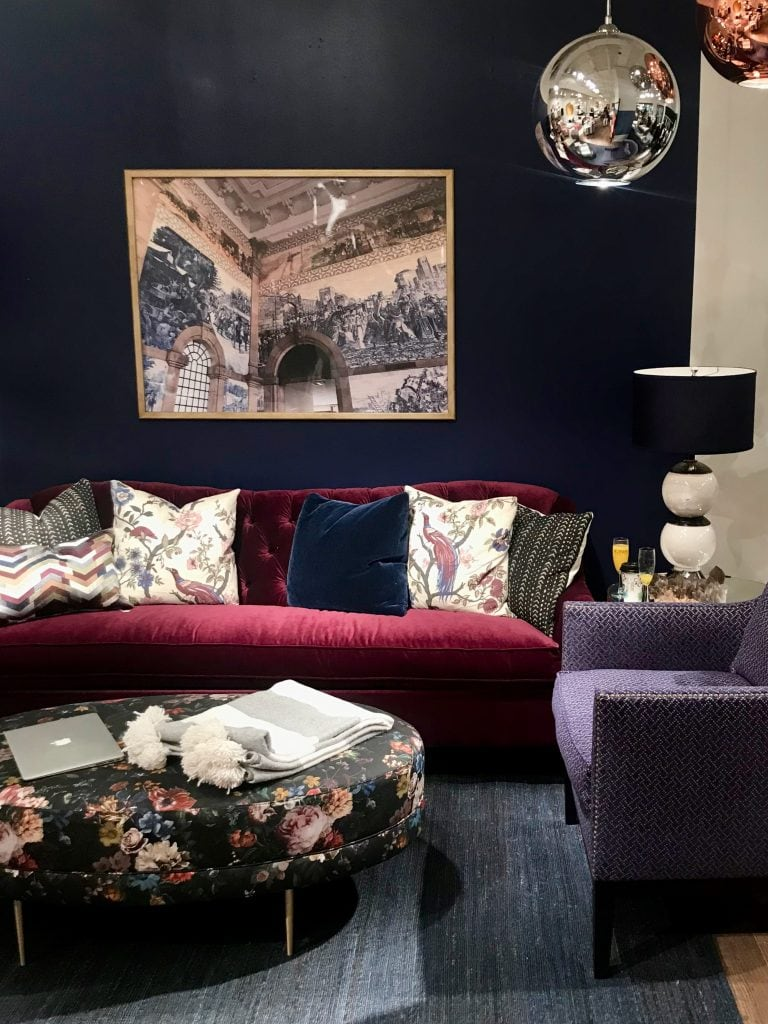 Trend report from High Point Market - jewel tone furniture in Norwalk Furniture showroom on Thou Swell @thouswellblog