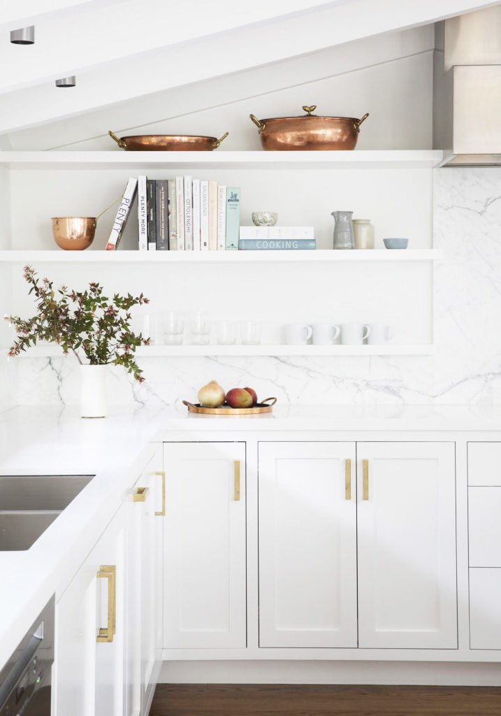 Minimal white kitchen styling with copper pots on Thou Swell @thouswellblog