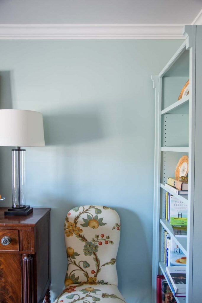 Clare paint light blue Headspace dining room walls and painted bookshelf on Thou Swell @thouswellblog