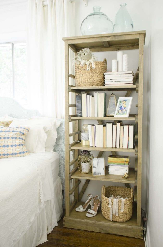 Bedroom bookshelf styling tips via Thou Swell @thouswellblog